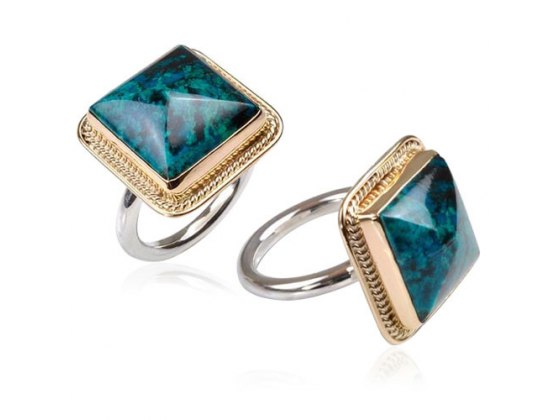 Sterling Silver Gold and Eilat Stone Square Ring