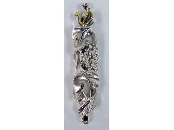 Sterling Silver Grapes and Leaf Mezuzah with Gold Shin