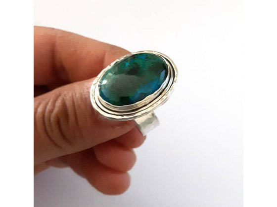 Sterling Silver Handmade Ring with Eilat Stone