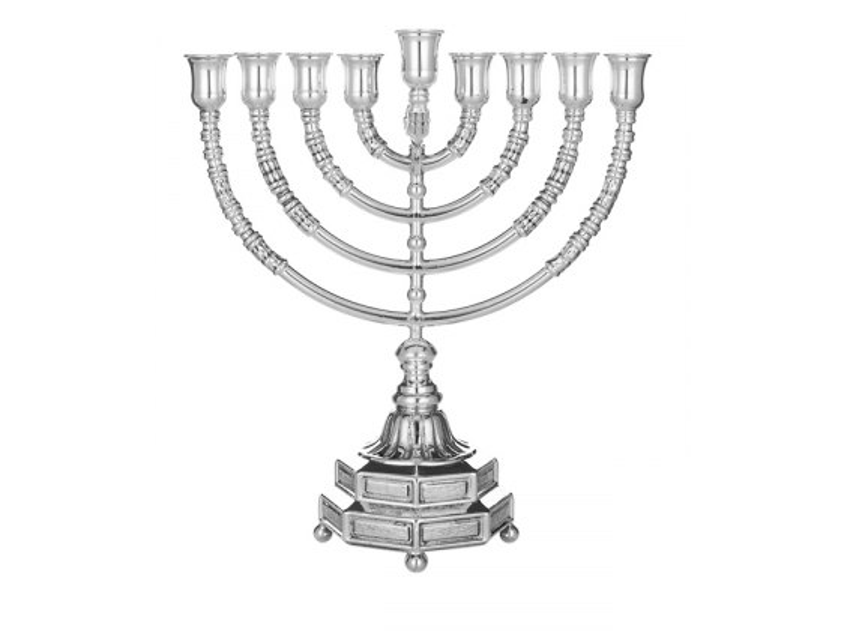 "Sterling Silver Hanukkah Menorah ""Menorat-Ha'Atzmaut"" by Hadad"