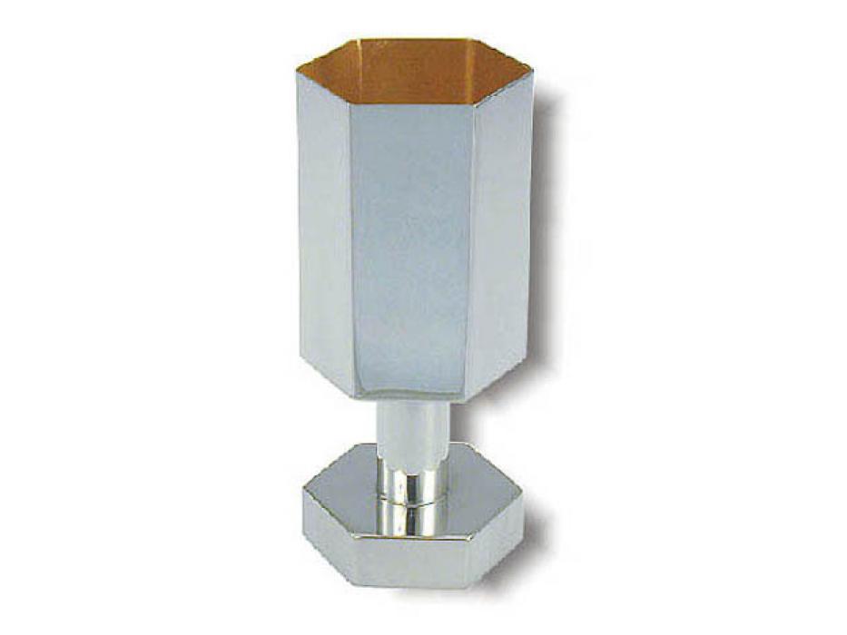 Sterling Silver Hexagonal Design, Kiddush Cup