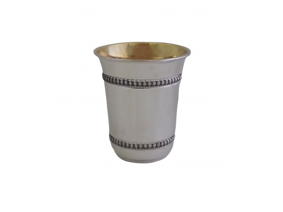 Sterling Silver Kiddush Cup Intricate Flowers Design