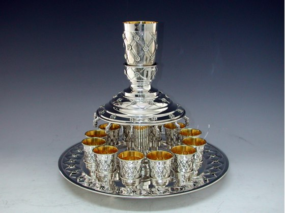 Sterling Silver Kiddush Wine Fountain - 12 Cups with Floral Diamond Pattern