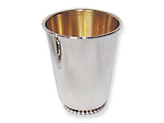 Sterling Silver Pearl Style Flat Bottom, Kiddush Cup