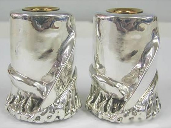 Sterling Silver Shabbat Candlesticks with Silver Scroll