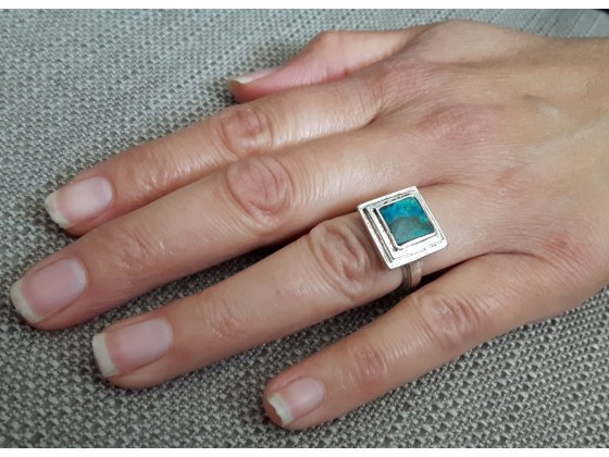 Sterling Silver Round  Frame and Eilat Stone Ring