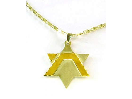 Sterling Silver Star of David with Geometric Gold Chai - Emunah