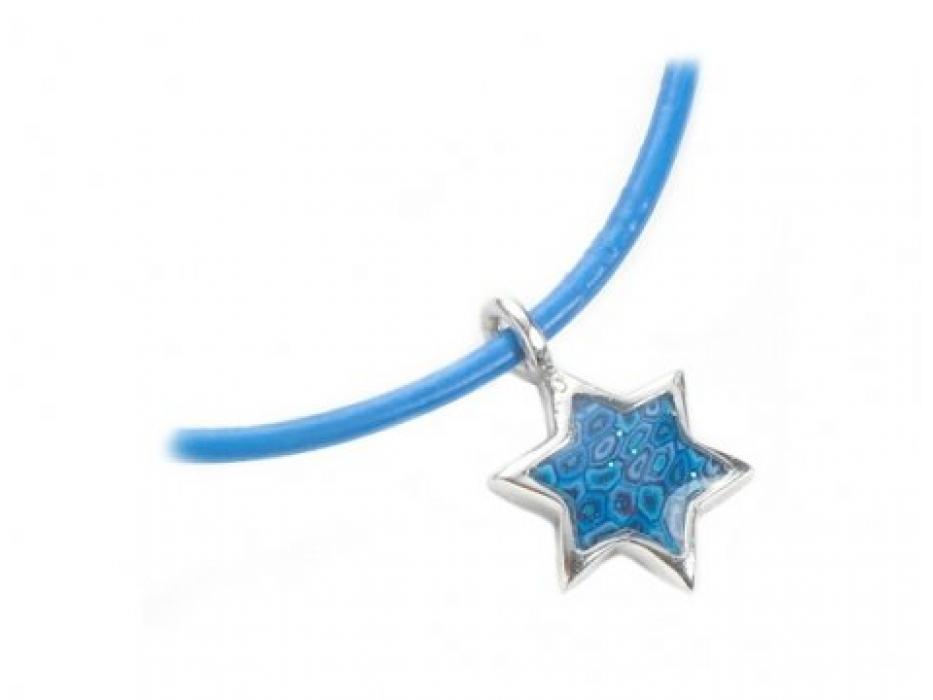 Sterling Silver Star of David Pendant on a Leather Bracelet by Adina Plastelina