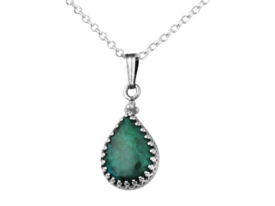 Sterling Silver Teardrop Set Eilat Stone Necklace
