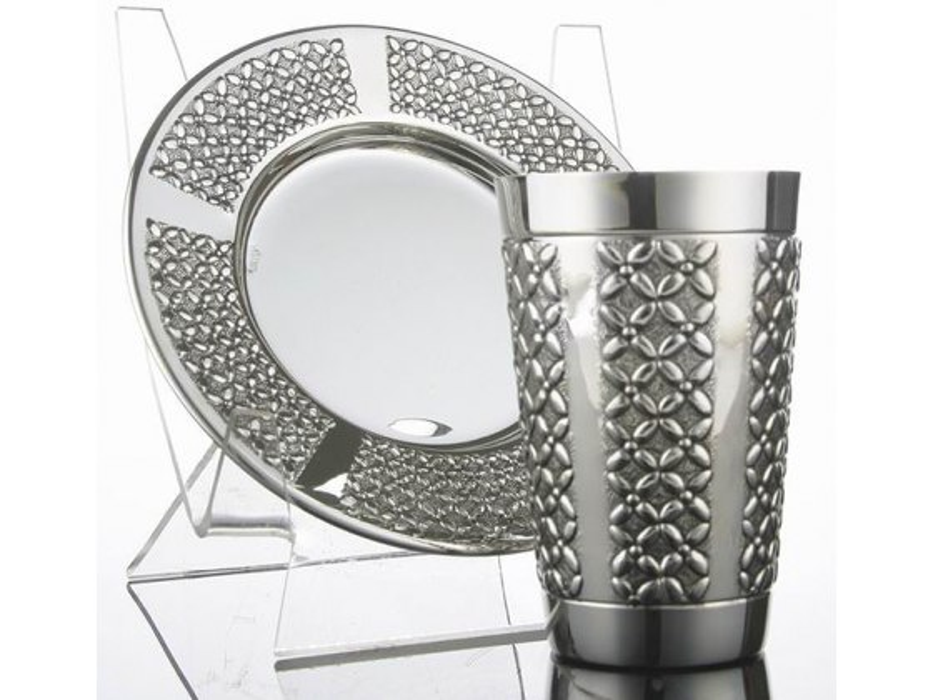 Sterling Silver Wedding Kiddush Cup & Saucer, Lattice Design Panels