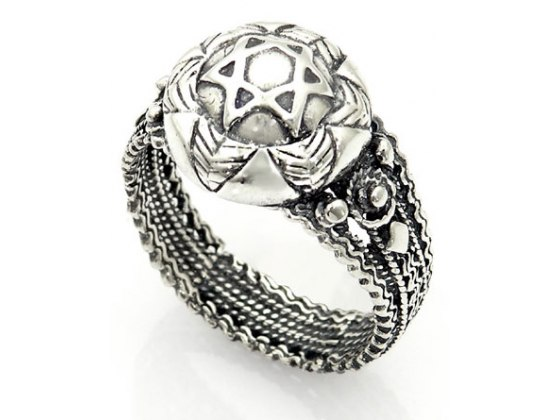 Sterling Silver with Yemenite Elements, Star of David Ring
