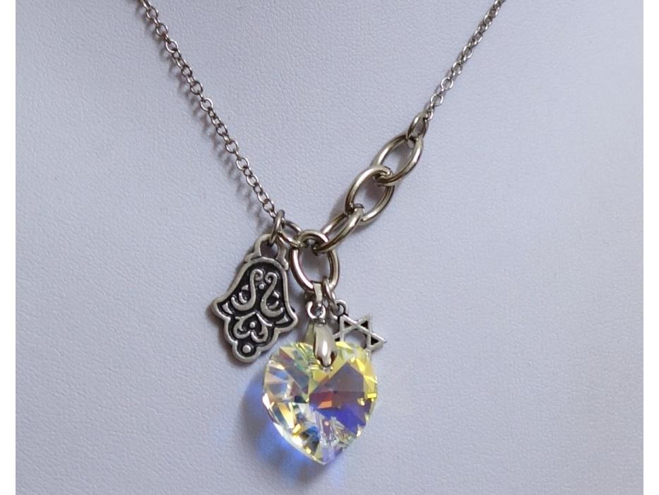 Stunning Crystal Heart Star of David and Hamsa