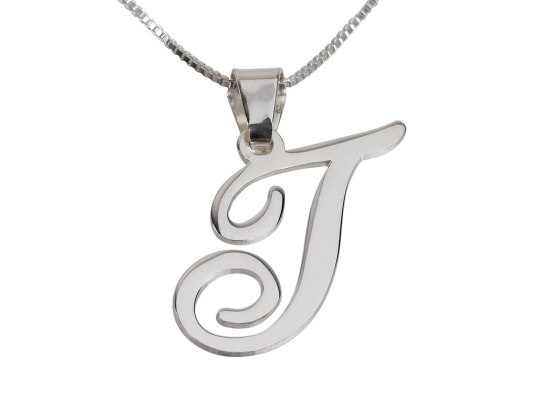 Stunning Silver Initial Pendant Necklace