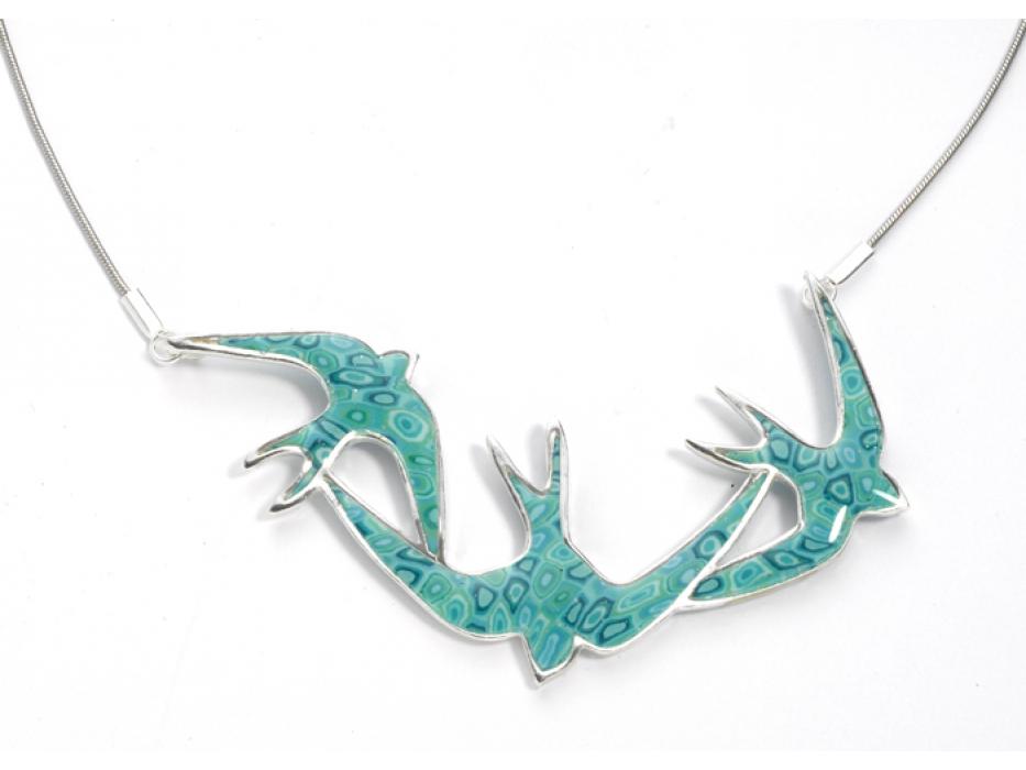 Swallows in Flight Necklace by Adina Plastelina
