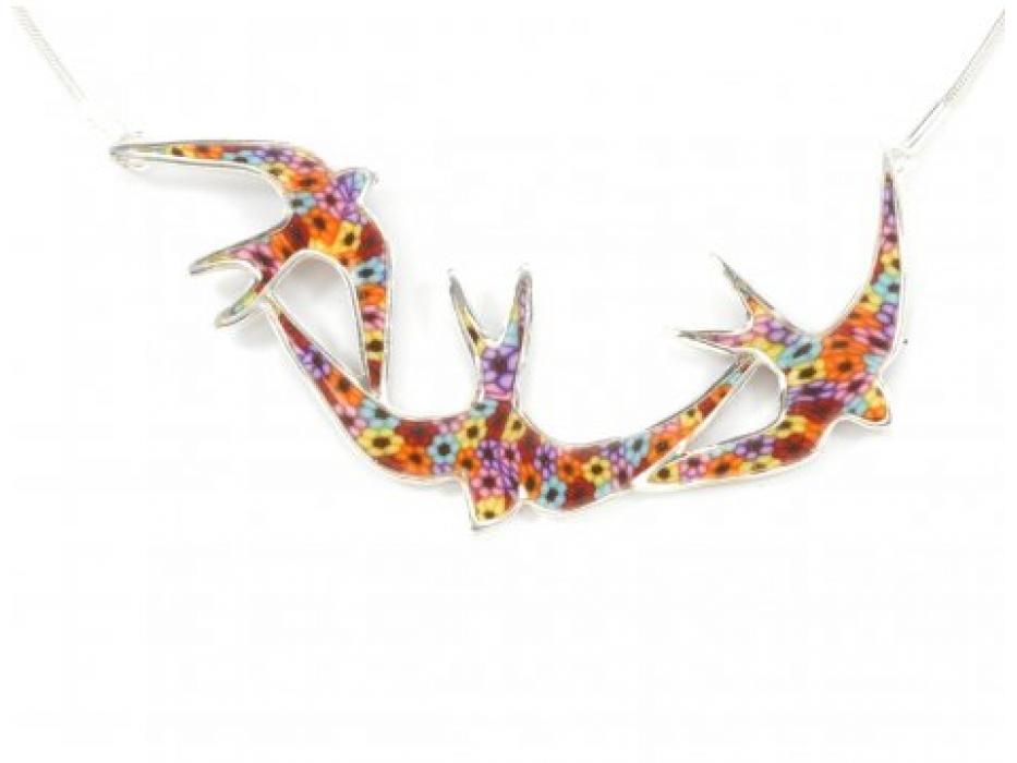 Swallows in Flight Silver Necklace by Adina Plastelina
