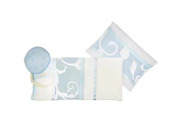 White Silk Women's Tallit with Light Blue Floral Pattern