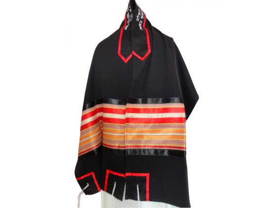 Tallit Prayer Shawl Black Wool with Red and Gold Stripes