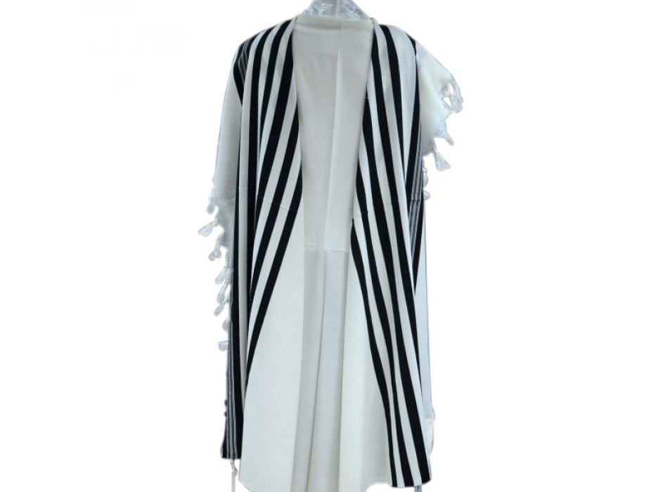 Tashbetz non Slip Wool with Black Stripes, Tallit Prayer Shawl