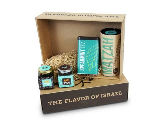 Taste of Israel Gift Box Flavored Tea Matzah Spread and Syrup