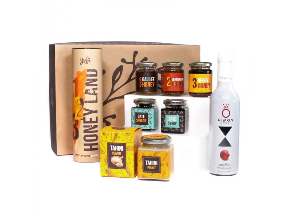 Taste of Israel Gift Box with Pomegranate Wine Honey Land Box