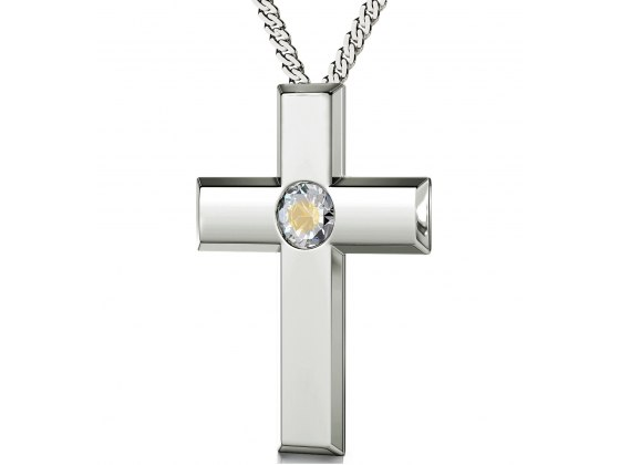 Psalm 23 Sterling Silver Cross - Clear Crystal