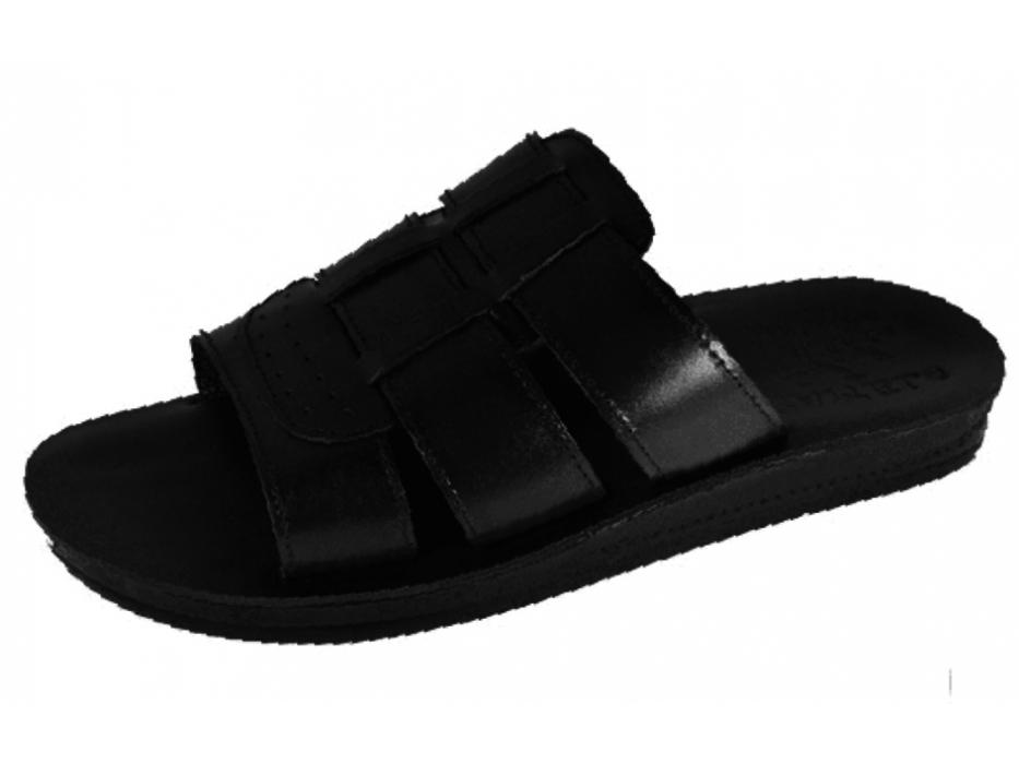 Thick Triple Band Biblical Handmade Leather Platform Slip-on Sandal