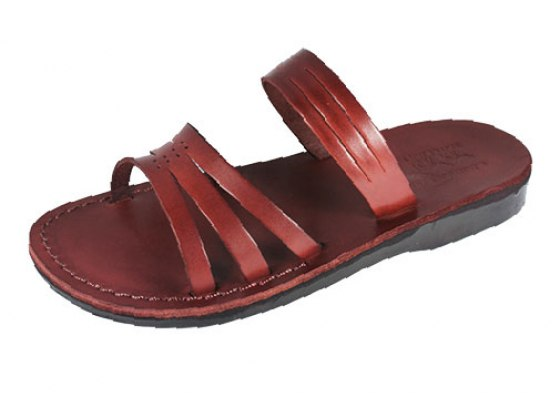 Thin Banded Leather Slip-on Biblical Sandals - Dinah