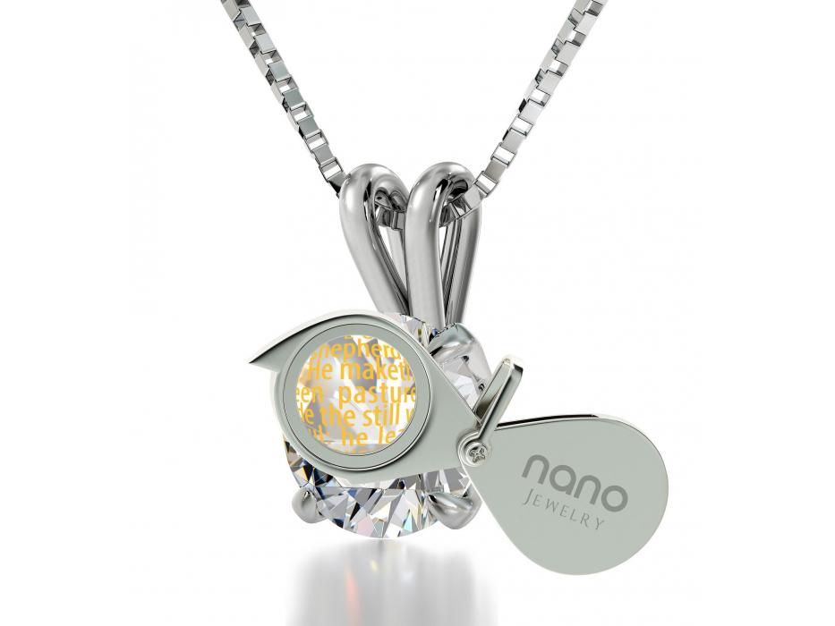 Psalm 23 14K White Gold and Swarovski Nano Jewelry