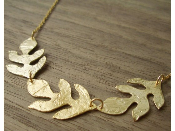 Three Leaf Necklace in Gold Plate - Shlomit Ofir Jewelry