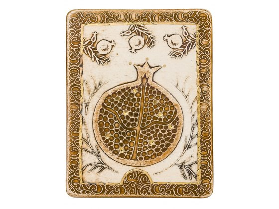 Handmade Jewish Home Blessing with Gold Pomegranates by Art in Clay