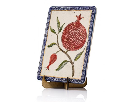 Handmade Ceramic Plaque with Pomegranate Tree by Art in Clay