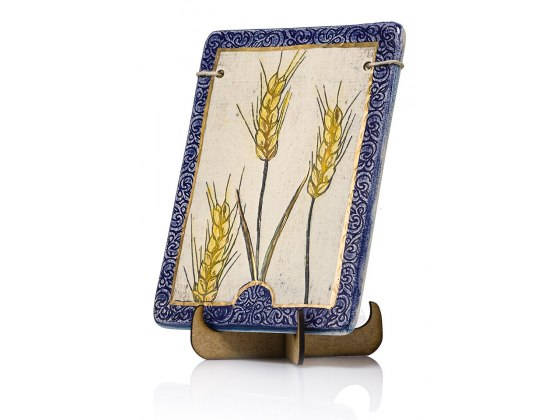 Handmade Ceramic Plaque with Seven Species Wheat by Art in Clay