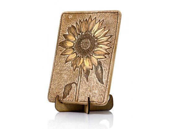 Handmade Ceramic Plaque with Golden Sunflower by Art in Clay