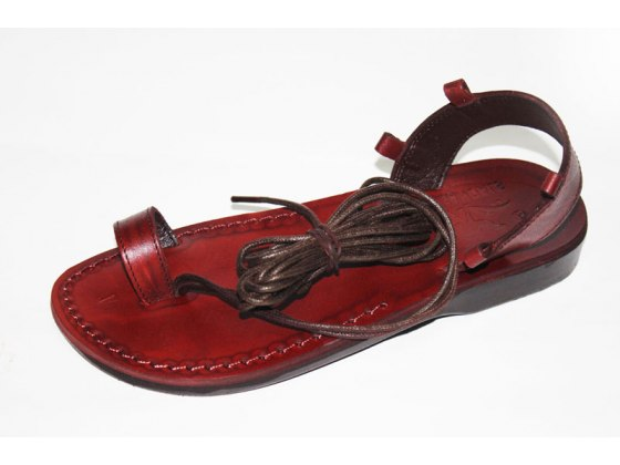 Toe Strap and Roman Laces Leather Biblical Sandals - Idit