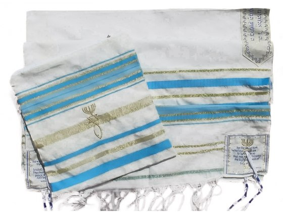 """Turquoise and Gold Christian Prayer Shawl (72"""" x 22"""")"""