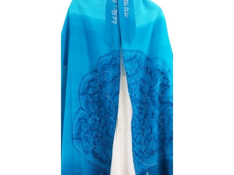 Galilee Silks Turquoise Tree Tallit Prayer Shawl