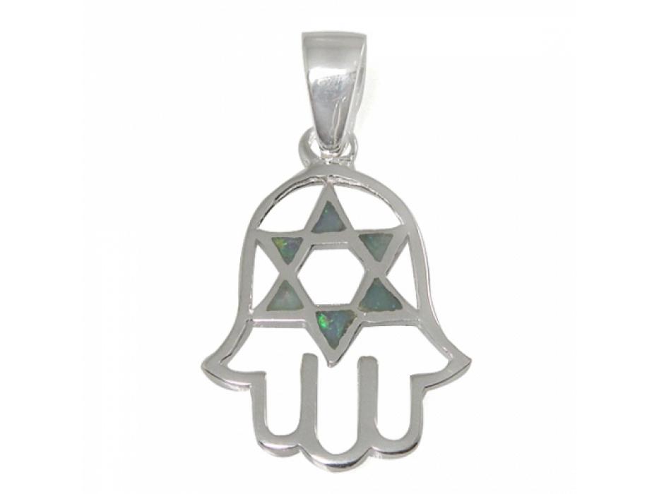 A Unique Hamsa and Star of David Necklace, Silver & Opal