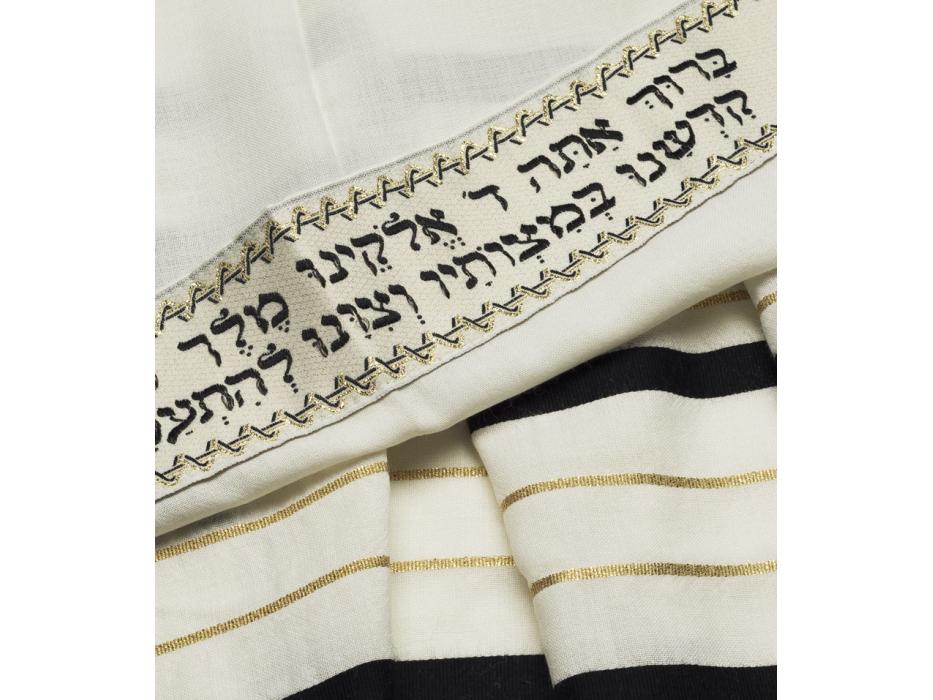 Talitania Wool Tallit Prayer Shawl with Black and Gold Stripes