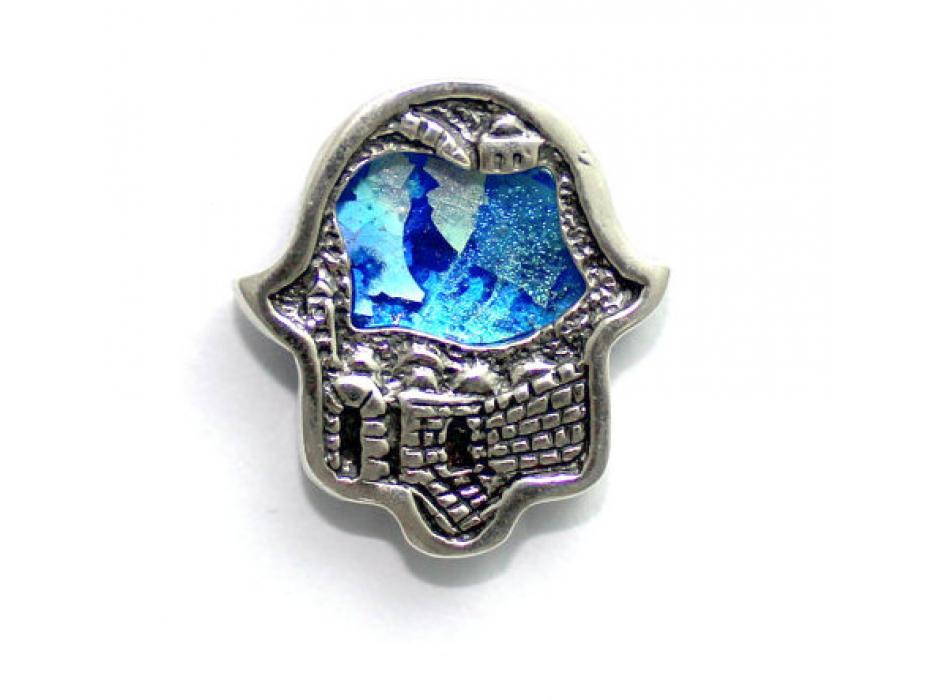 Walls of Jerusalem Silver and Roman Glass Hamsa Necklace