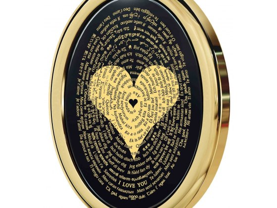 I Love You In 120 Languages on Onyx and Oval Gold Plated Frame