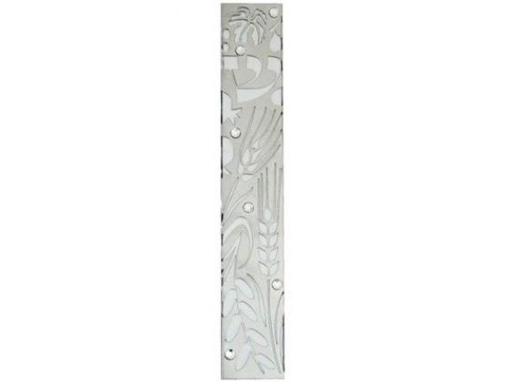 Wheat Cutout Aluminum Mezuzah Case with Stones