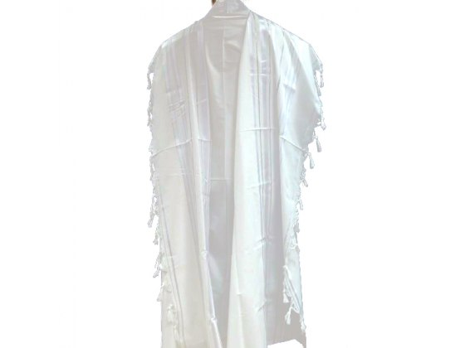 White Silver Acrylic Mishkan Hatchelet Tallit Prayer Shawl