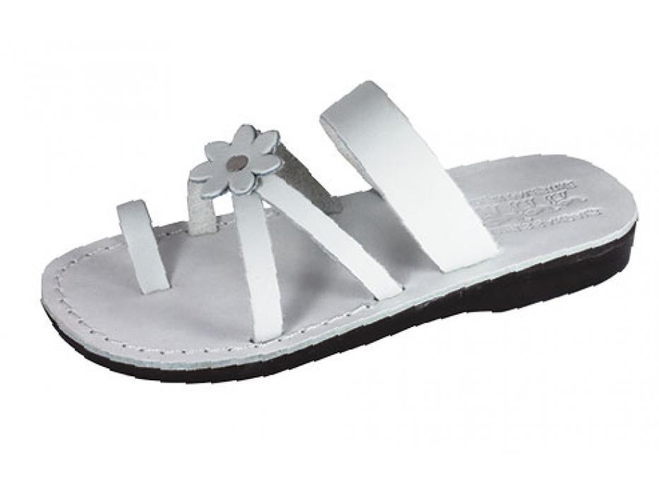 White Flower Toe Strap Israeli Handmade Leather Sandals