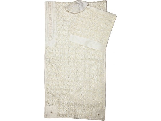White Knotted Embroidery Silk Rikmat Elimelech Tallit