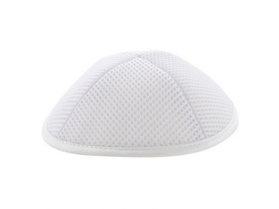 White Mesh Kippah with Pin Spot