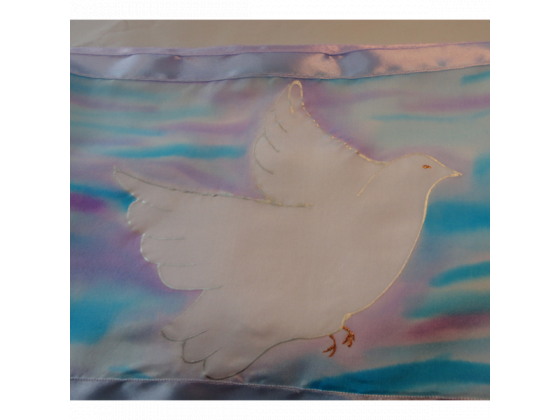 White Silk Tallit Prayer Shawl with Peace Doves Design