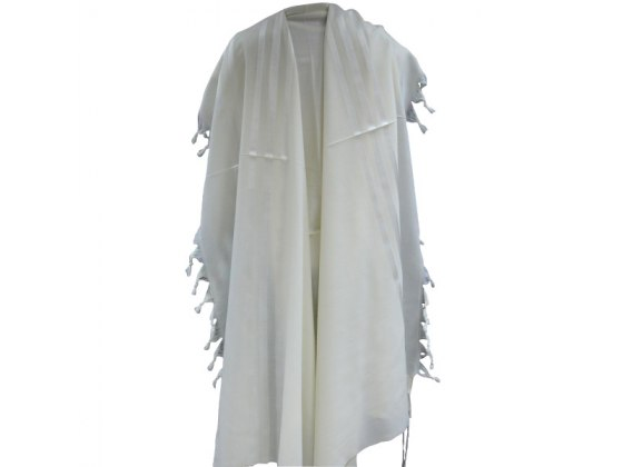 White Stripes Prima AA Wool , Tallit Prayer Shawl