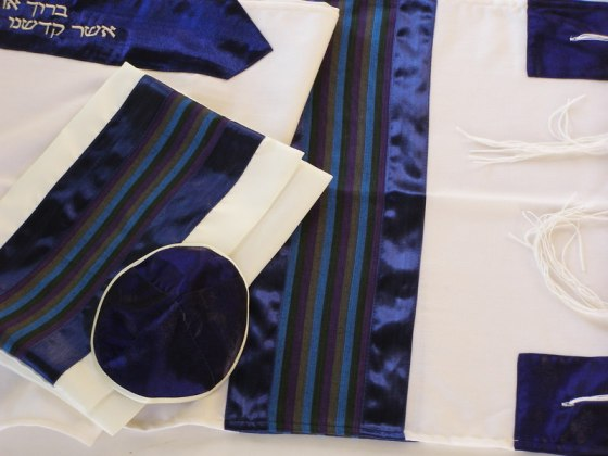 White Wool Tallit with Purple Green and Blue Silk