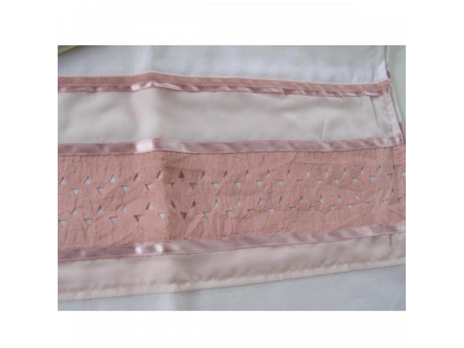 White Wool Tallit with Silk Pink Star of David Pattern