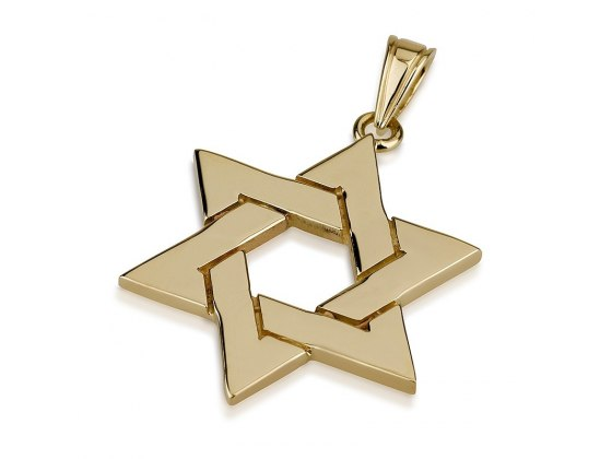 Wide Woven Design 14K Gold Star of David Necklace